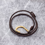 Simple Hook Pattern with Multiple Knitted Bell Titanium Steel Men's Bracelet