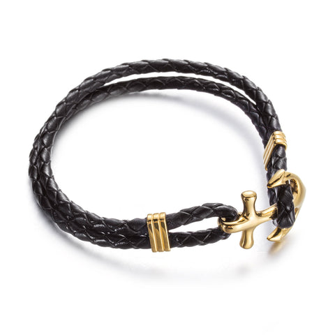 Minimalism Anchor with Knitt Bell Titanium Steel Men's Bracelet