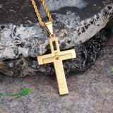 Golden Bible and  Engraved Titanium Steel Men's Necklace