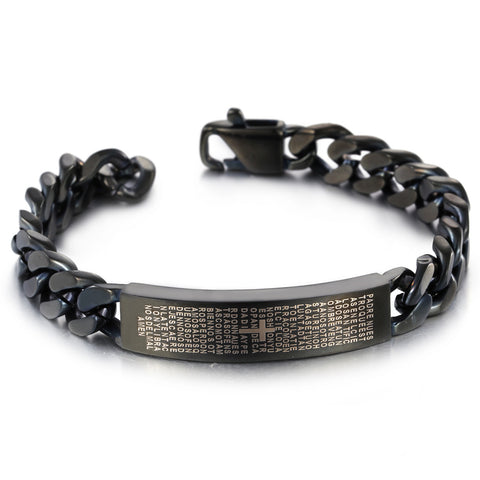 Personalized Devout Bible Engraved Titanium Steel Men's Bracelet