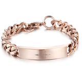 Crisscross Engraved Rose Gold Titanium Steel Men's Bracelet