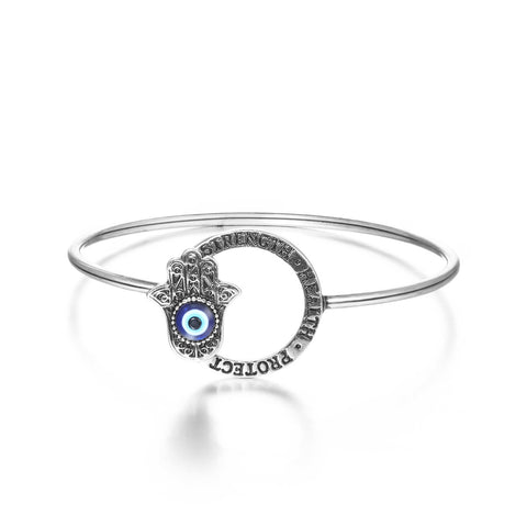 Hamsa Hand Evil Eye Bangle Bracelet
