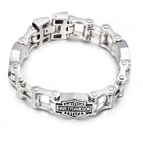 Characters Engraved Bicycle Chain Pattern Titanium Steel Men's Bracelet