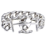 Double Anchor Interlaced Titanium Steel Men's Bracelet