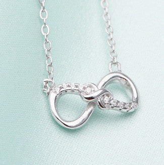 Double infinity Love Diamond 925 Sterling Silver Necklace