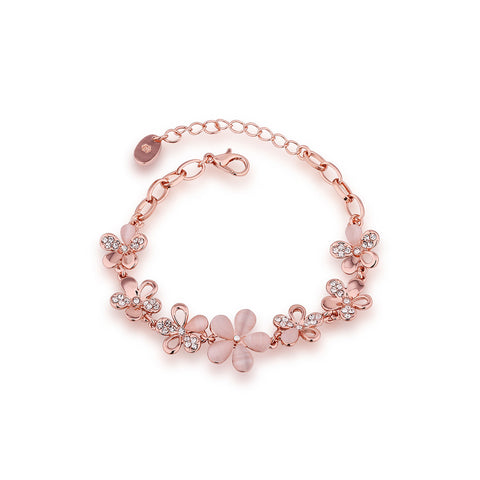 Rose Gold Flower Charm Bracelet
