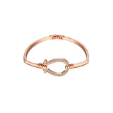 Cable Loop Crystal Bracelet Rose Gold
