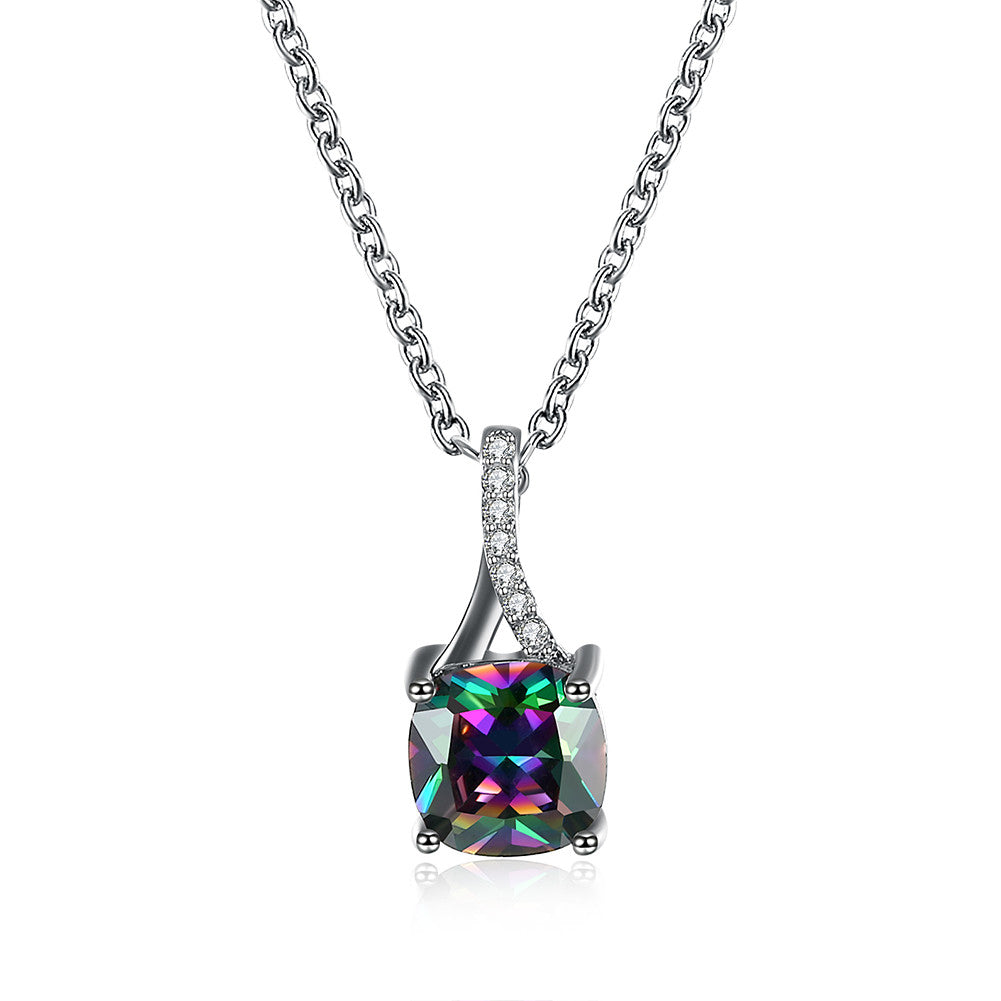 Rounded Square Zircon Pendant Necklace