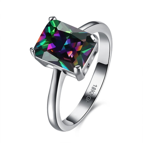 Plain Ring With Colorful Zircon CZ