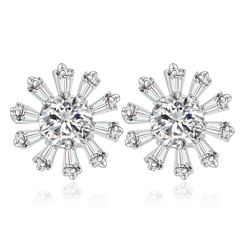 Flower Zircon Stud Earrings