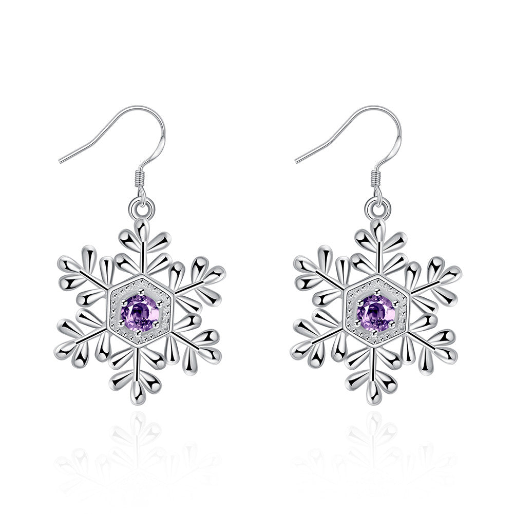 Silver-Tone Snowflake Drop Earrings