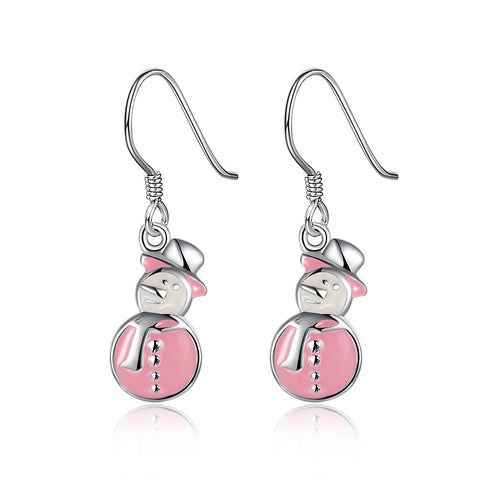 Snowman Drop Earrings for Christmas Gift