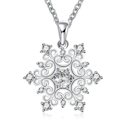 Classic Flower Pendant Necklace With Zircon