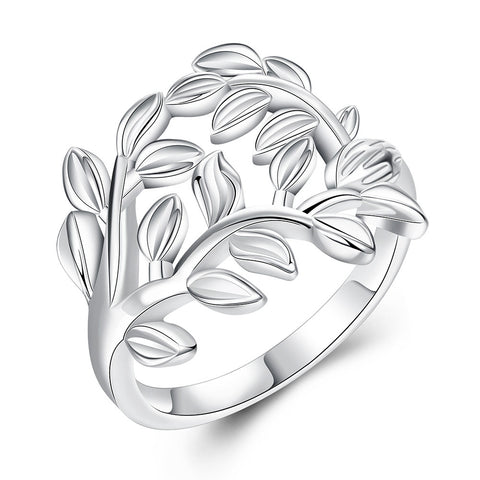Silver Plated Leaves Ring