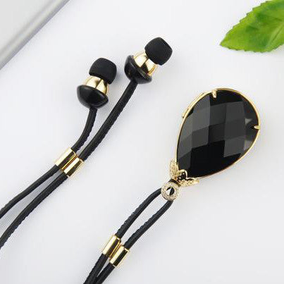Unique Gem Necklace with Hi-Fi Bluetooth Earphones for Iphone & Ipad & Android