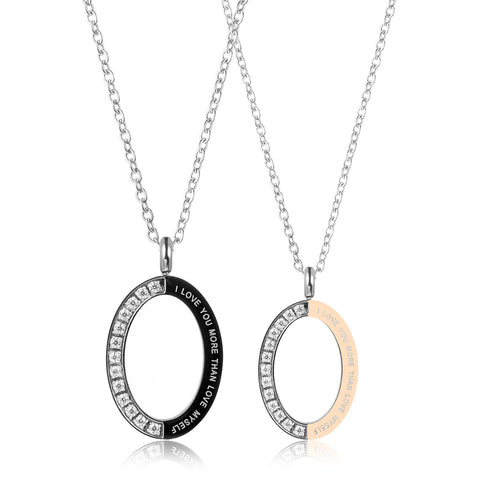 Oval Rhinestone Pendant Couple Necklace