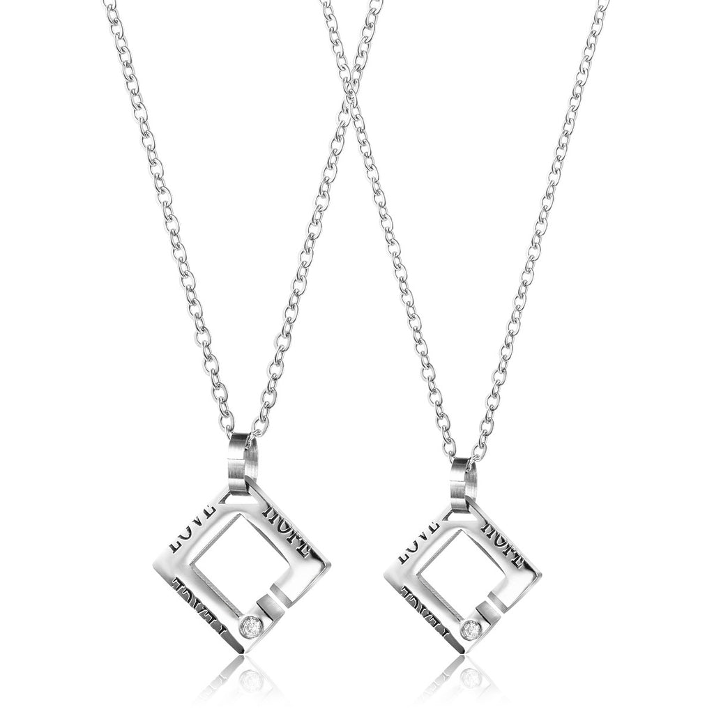|Hope Peace Love| Square Couple Necklace