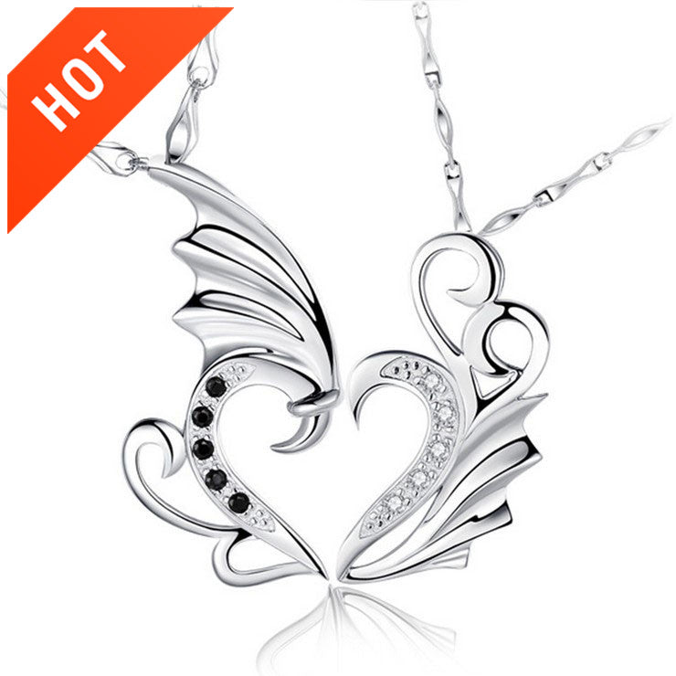 925 Sterling Silver Angel Wings Couple Necklace