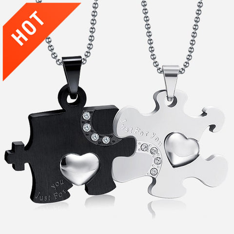 Personalized Heart Puzzle Cubic Zircon Inlaid Couple Necklaces