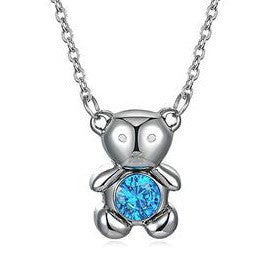 Women's Pendant Necklace Little Bear Titanium Steel Blue