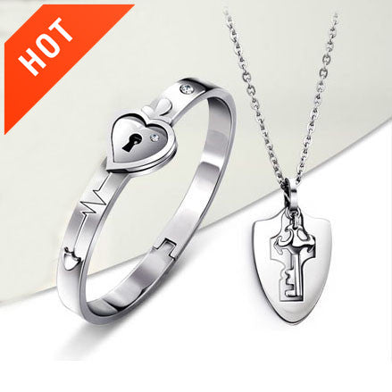 c5ac917e60 Personalized Titanium Key Necklace And Lock Bracelet Couple Bracelets Set