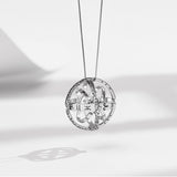 Handcrafted Astronomical Sphere Ball Cosmic Finger Necklace for Lover Silver