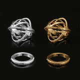 Handcrafted Astronomical Sphere Ball Cosmic Finger Ring for Lover Gold