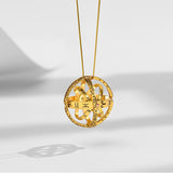 Handcrafted Astronomical Sphere Ball Cosmic Finger Necklace for Lover Gold