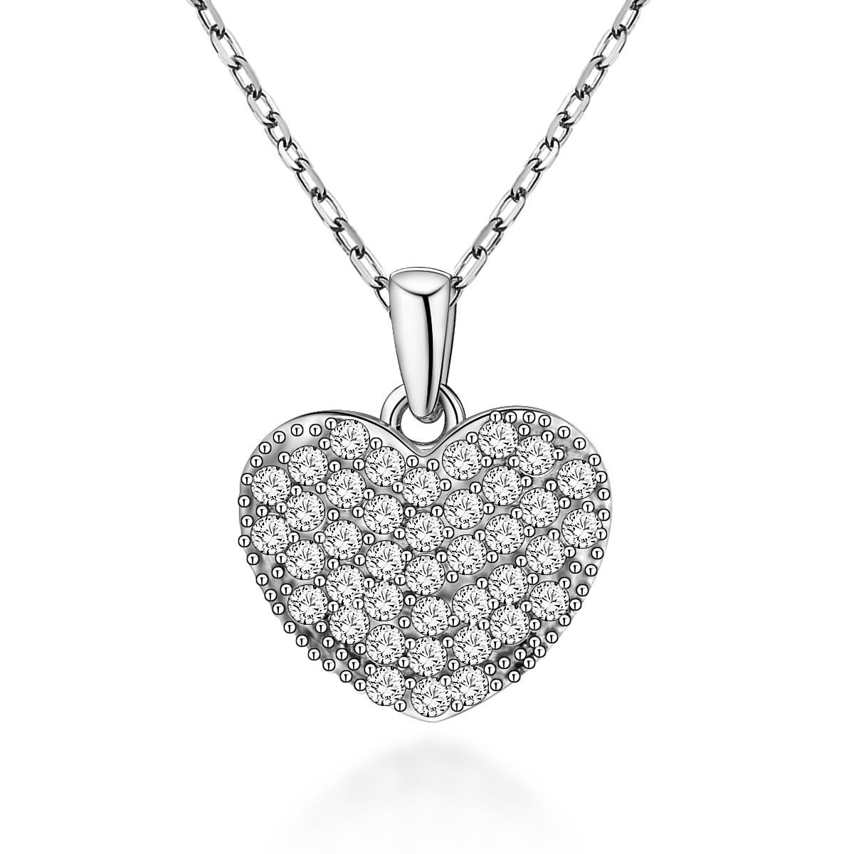 Cute Heart-shaped Design 925 Sterling Silver Pendant Necklace for Women E061687001
