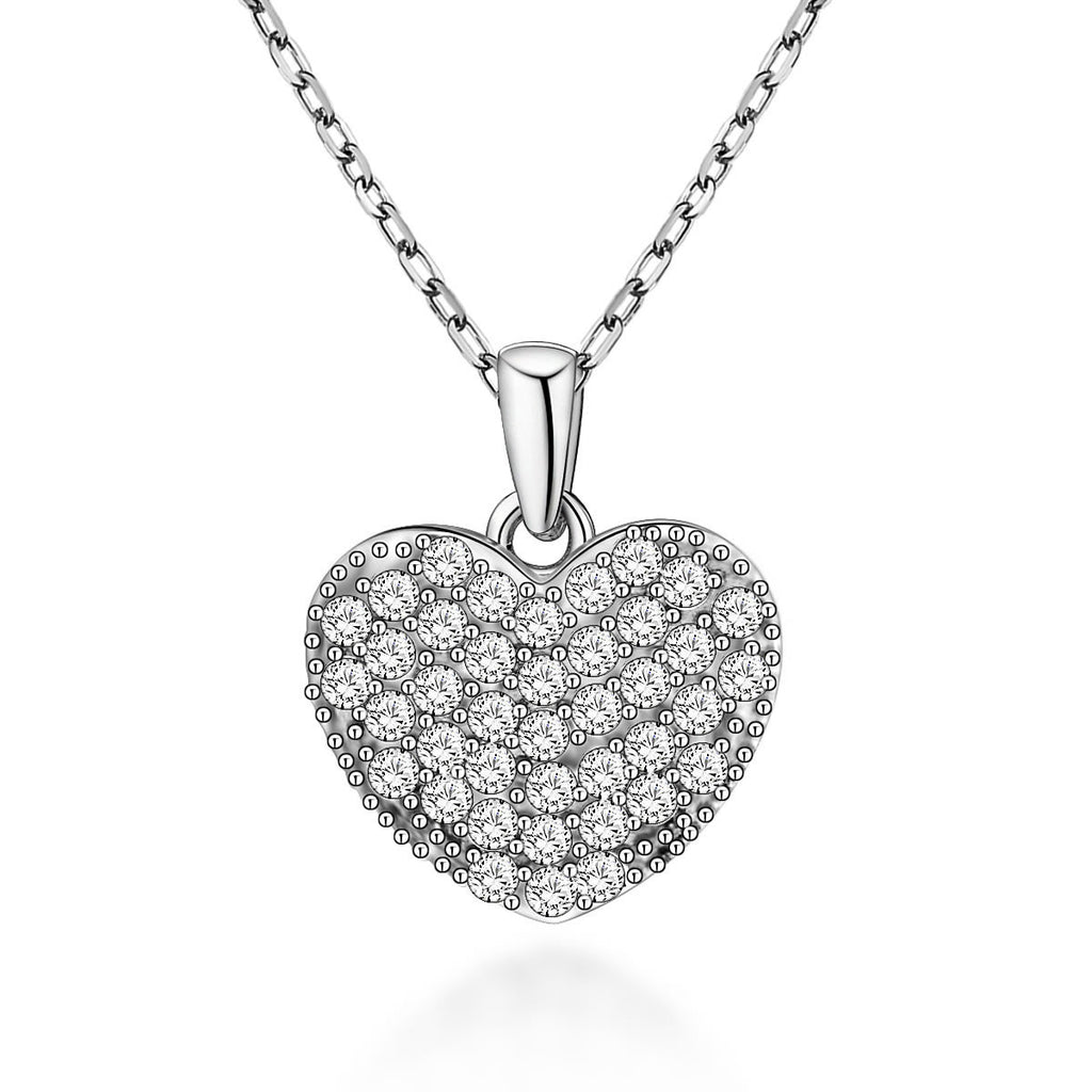 Cute Heart-shaped Design 925 Sterling Silver Pendant Necklace for Women