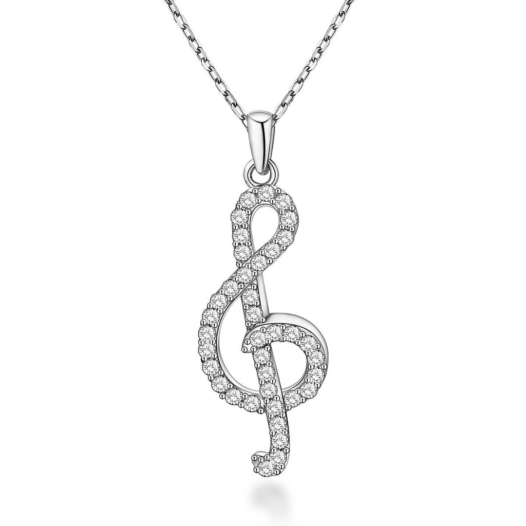 Music Notation-shaped Design 925 Sterling Silver Pendant Necklace