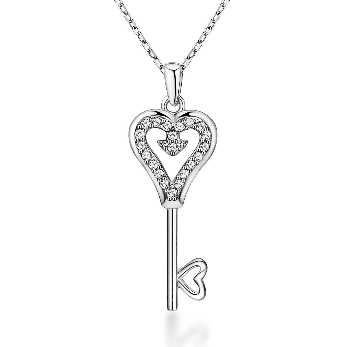 Unique Heart-shaped Key Design 925 Sterling Silver Pendant Necklace E061751001