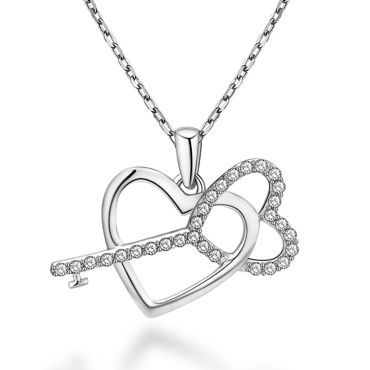 Fashion Heart-shaped Key Design 925 Sterling Silver Pendant Necklace E061749001
