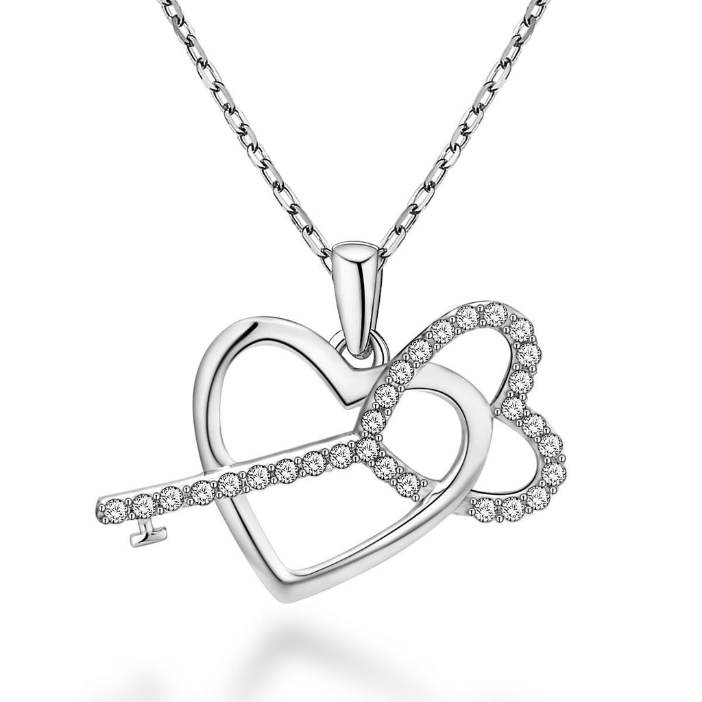 Fashion Heart-shaped Key Design 925 Sterling Silver Pendant Necklace