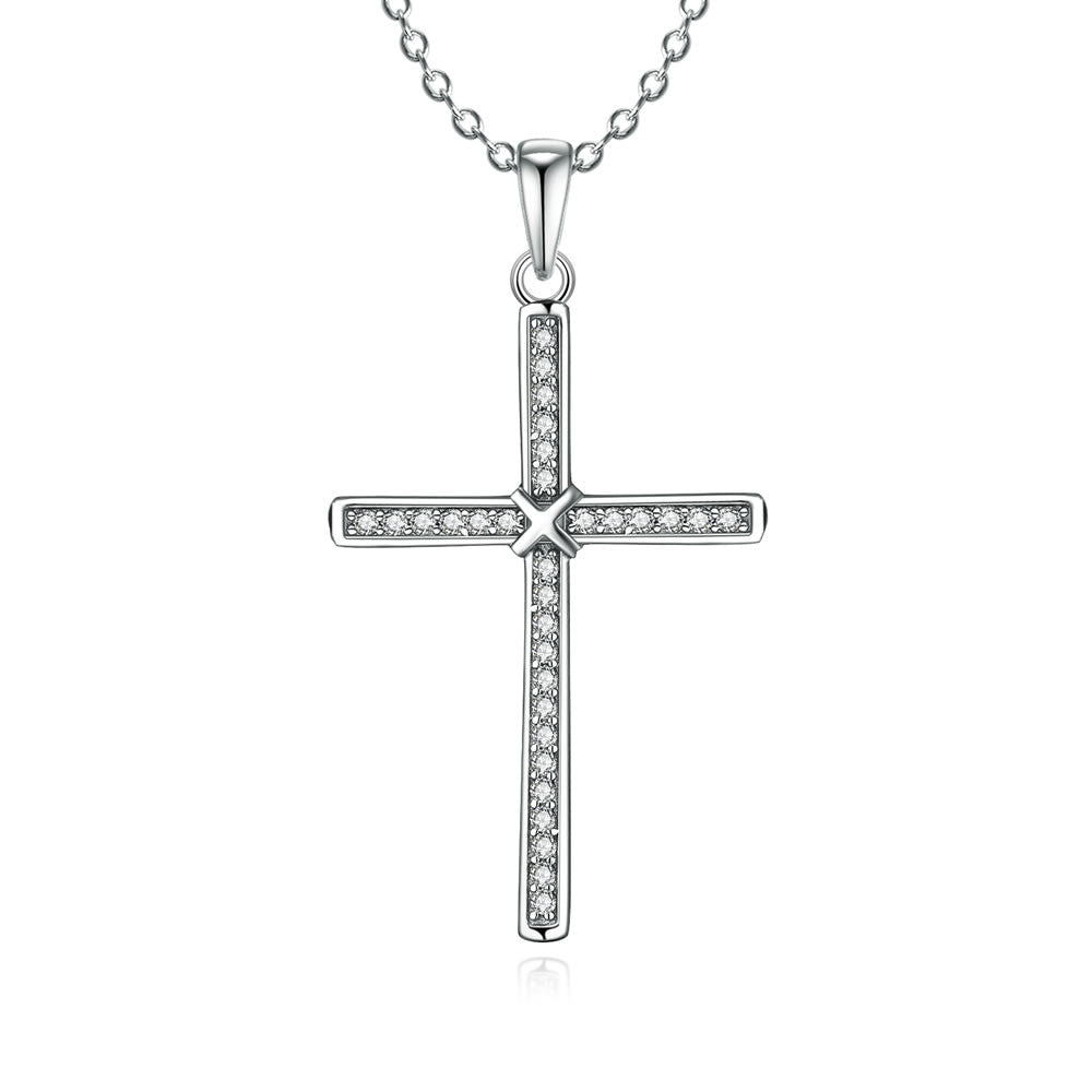 Special Cross-shaped Design 925 Sterling Silver Pendant Necklace for Women