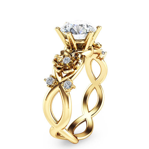 Twist Yellow Gold Flower Unique Engagement Ring Evermarker