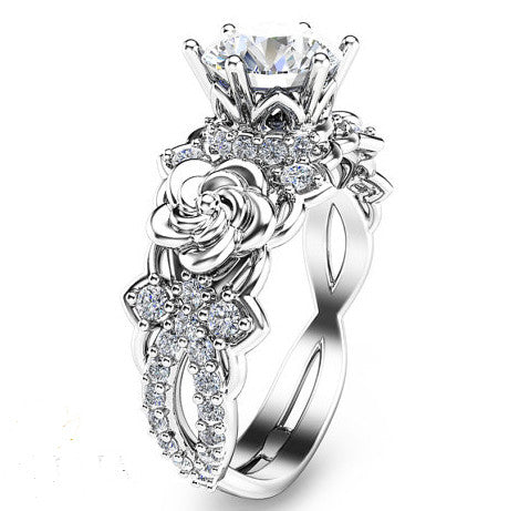 Created Moissanite Floral 925 Sterling Silver Engagement Ring