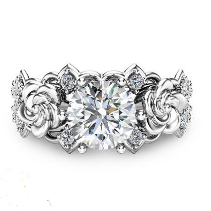 Created Moissanite Floral 925 Sterling Silver Engagement