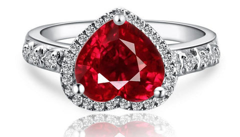Heart-shaped Scarlet Gemstone Silver Ring
