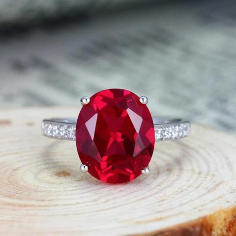 Egg-shaped Red Corundum Silver Ring
