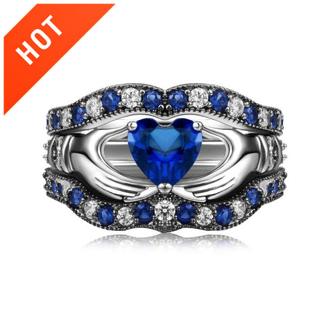 Blue Diamond Claddagh Engagement Ring Set