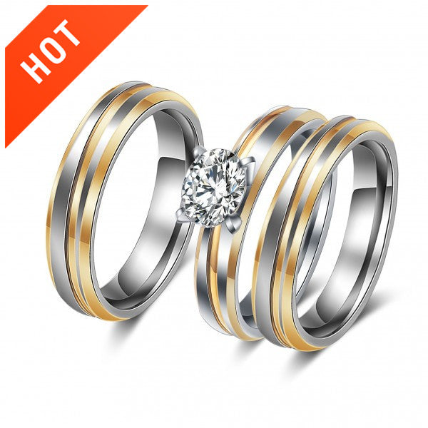 High Polished Grooved Zircon Diamond Couple Engagement Rings Set ...