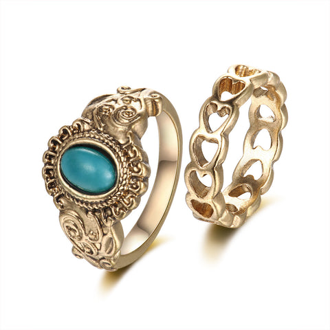 Turquoise Heart Cutout 2-Piece Midi Rings