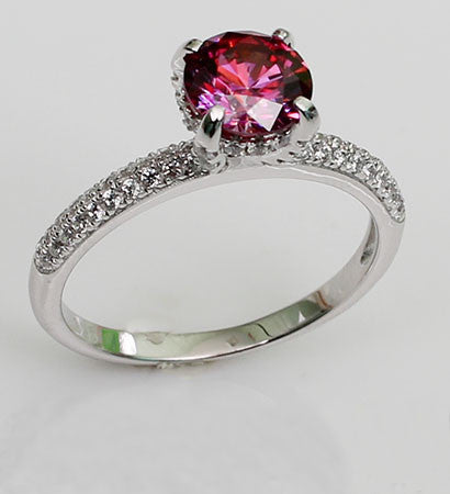 Brilliant Cut Purplish Ruby with Zircon Lace Band Engagement Ring
