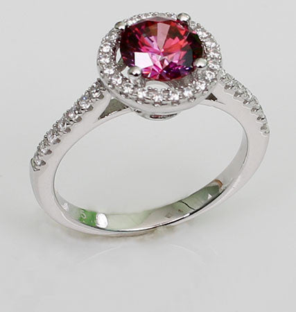 Luminous Round Shaped Ruby Engagement Ring