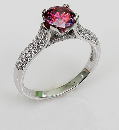 Brilliant Cut Prong Setting Round Shaped Ruby Silver Engagement Ring
