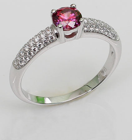 Luminous Brilliant Cut Round Shaped Ruby Engagement Ring