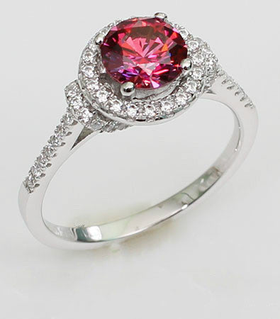 Brilliant Cut Ruby with Zircon Decorate Engagement Ring