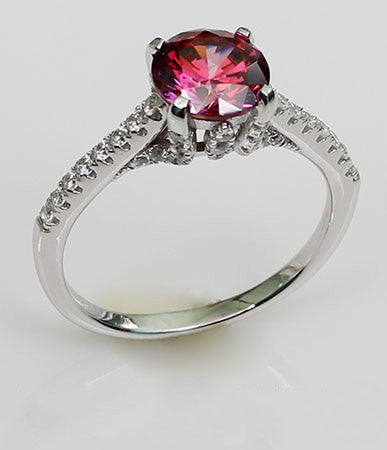 Pigeon Blood Ruby with Zircon Decorated Silvering Engagement Ring