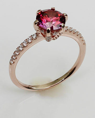 Purplish Pave Setting Lace band Ruby Silver Engagement Ring